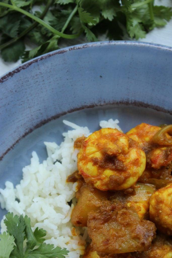 Spicy Shrimp Vindaloo in bowl