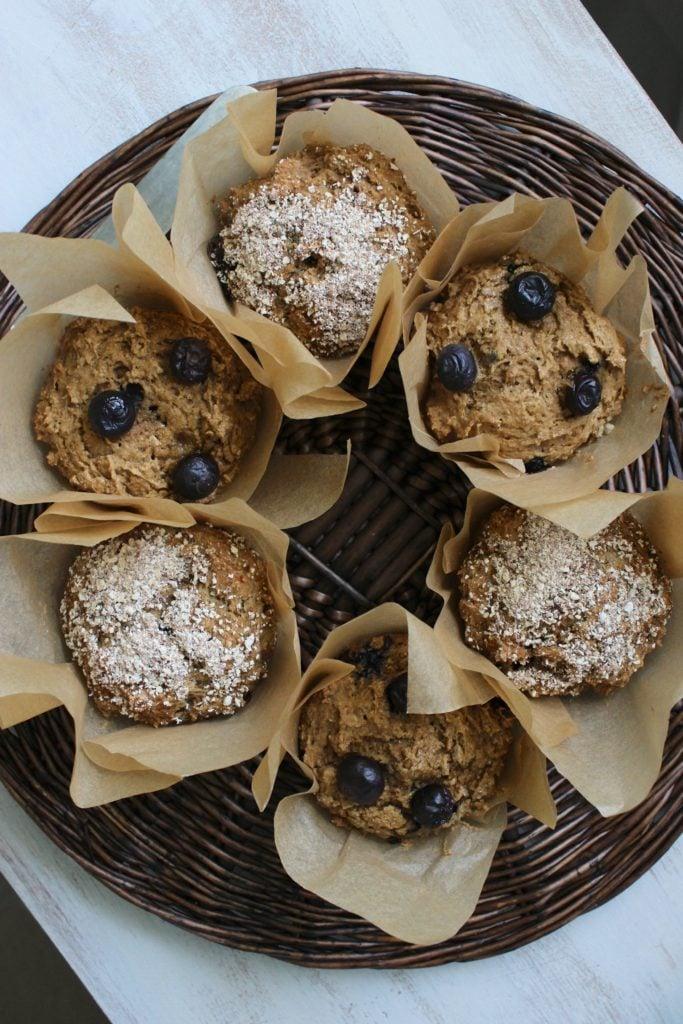 6 Gluten Free Blueberry Muffins in Basket