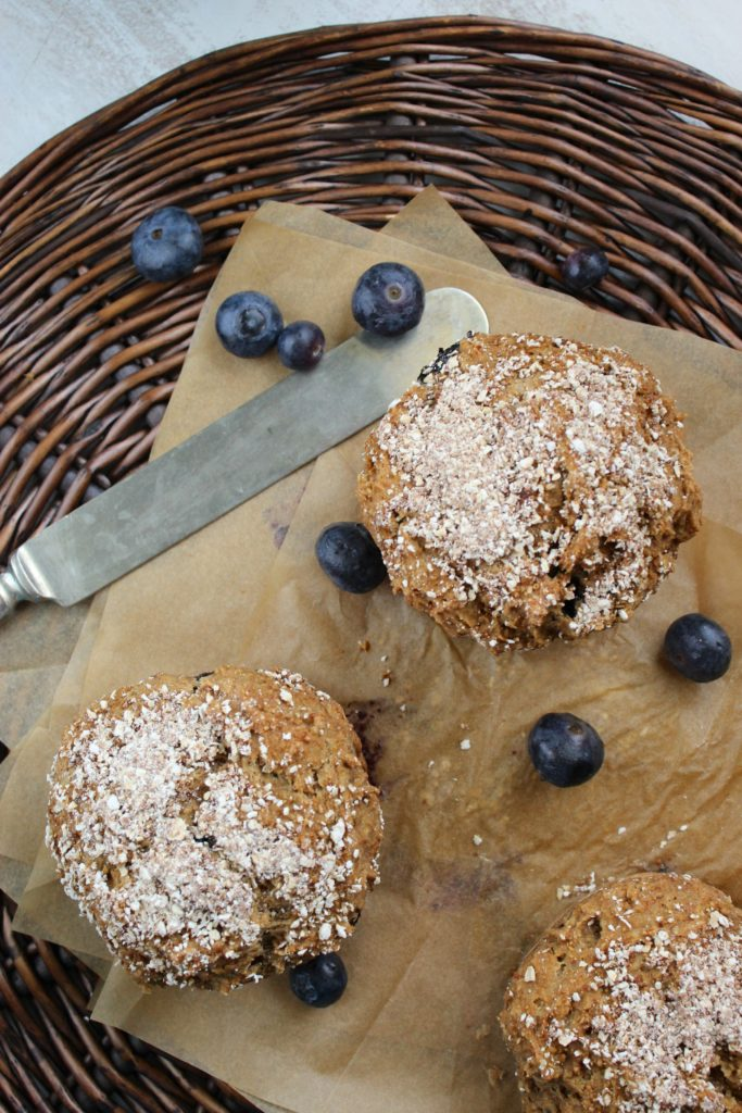 Gluten Free Blueberry Muffins with Knife in Basket