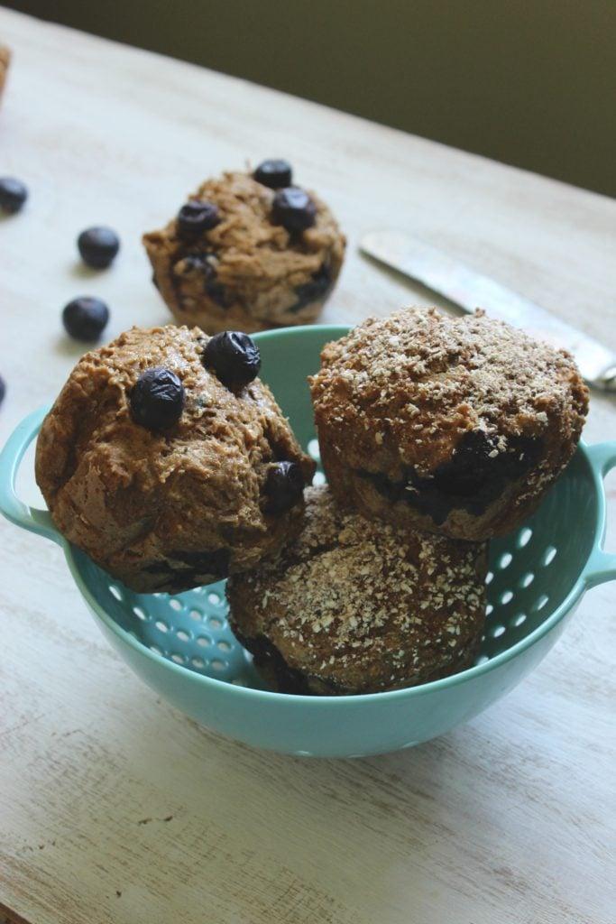 Gluten Free Blueberry Muffins in Colander