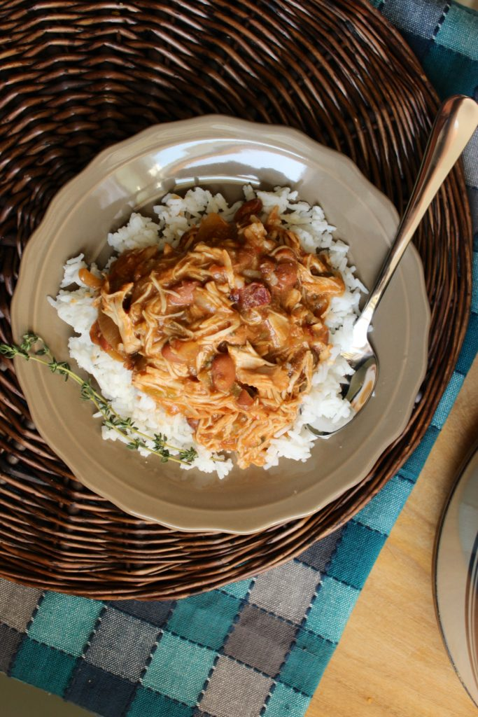 Easy Slow Cooker Chicken and Beans in Bowl with Spoon
