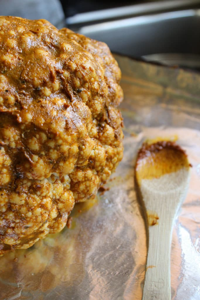 Whole Roasted Curry Cauliflower Wooden Spoon