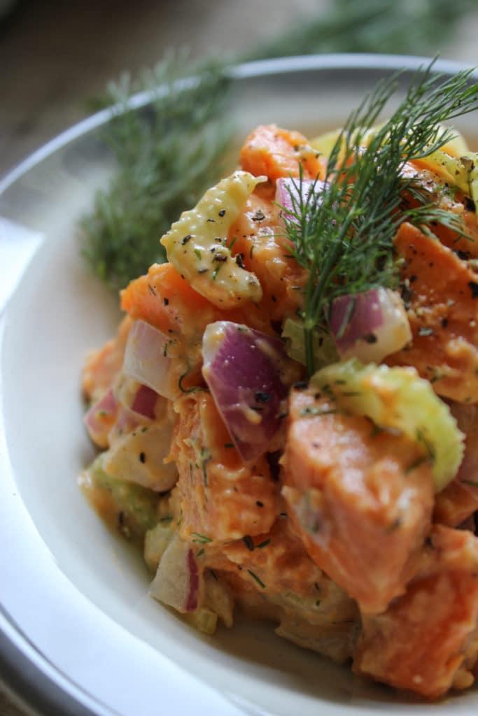 Vegan Sweet Potato Salad in bowl