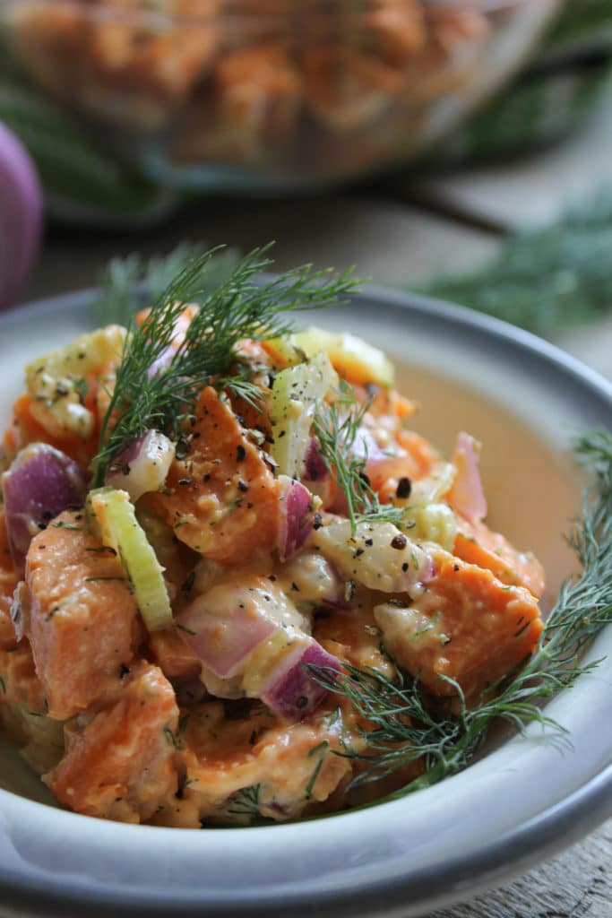 Easy Vegan Sweet Potato Salad on plate