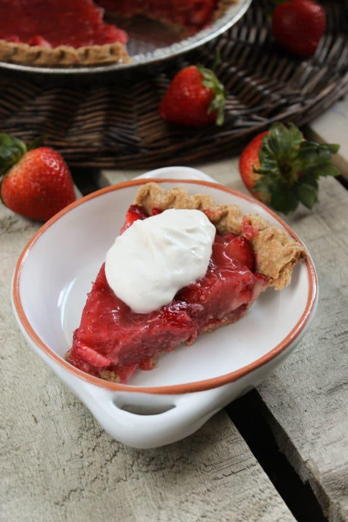 Easy No Jello Strawberry Pie in Dish