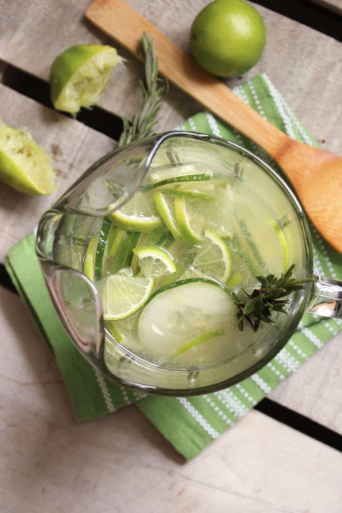 Gin and Tonic Sangria in Jug with Limes