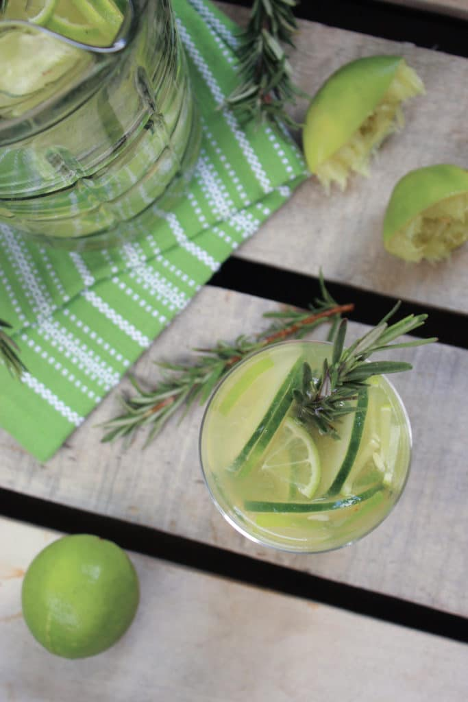 Gin and Tonic Sangria in Jug Limes Rosemary