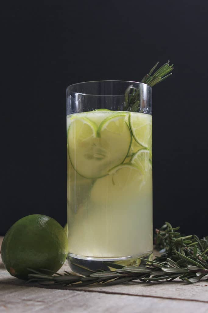 Gin and Tonic Sangria in Glass Lime Rosemary