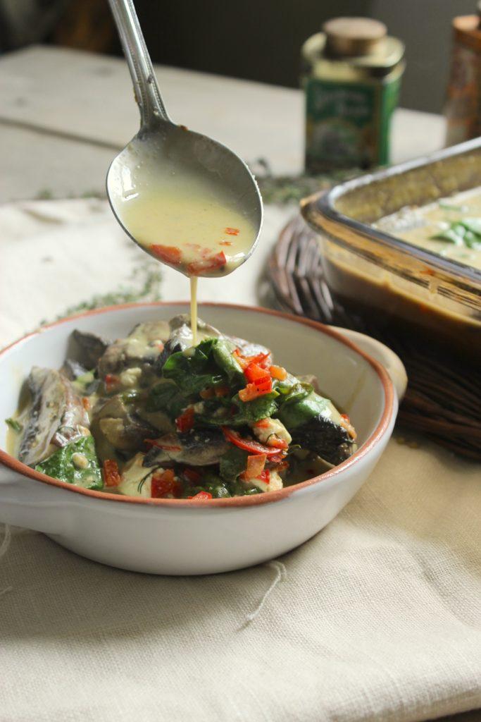 Portobello Mushroom Bake in Bowl with Spoon