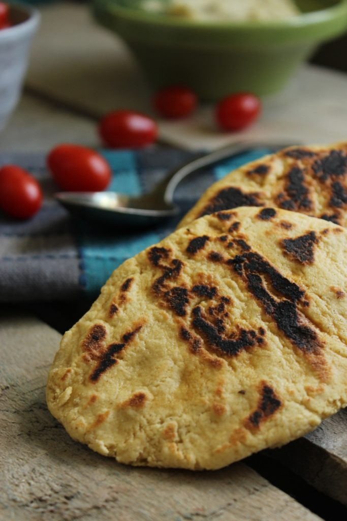 Gluten Free Naan Spoon and Tomatoes