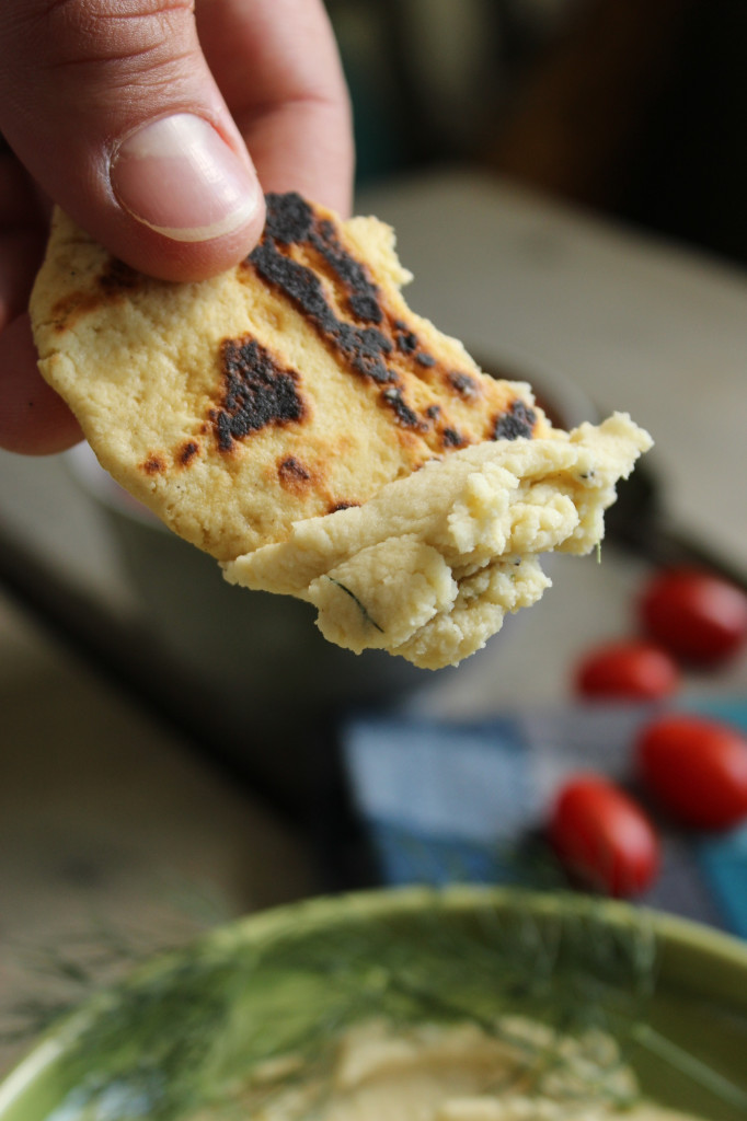 Healthy Fava Bean Hummus with Gluten Free Naan