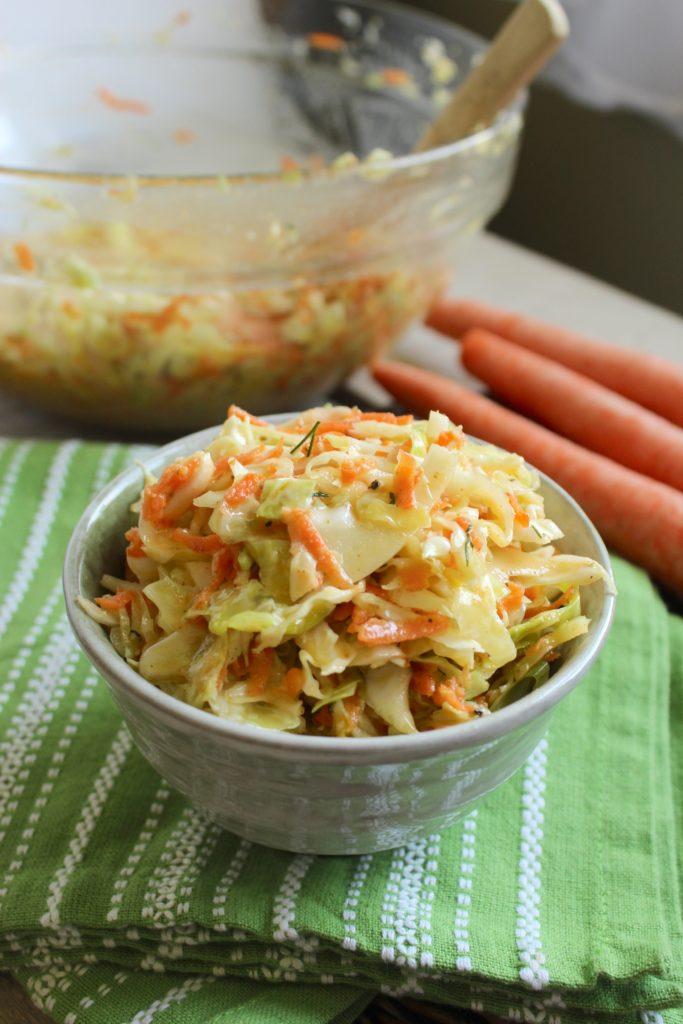 Tangy Vegan Cole Slaw in Bowls with Carrots