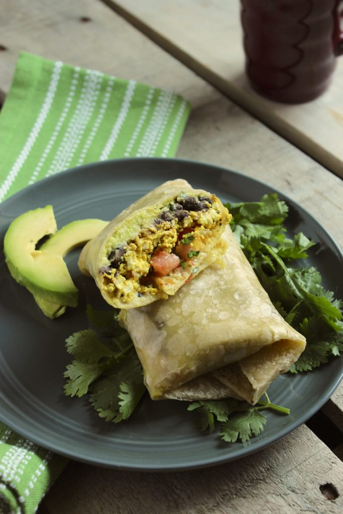 Healthy Tofu Breakfast Burritos on Plate Avocado