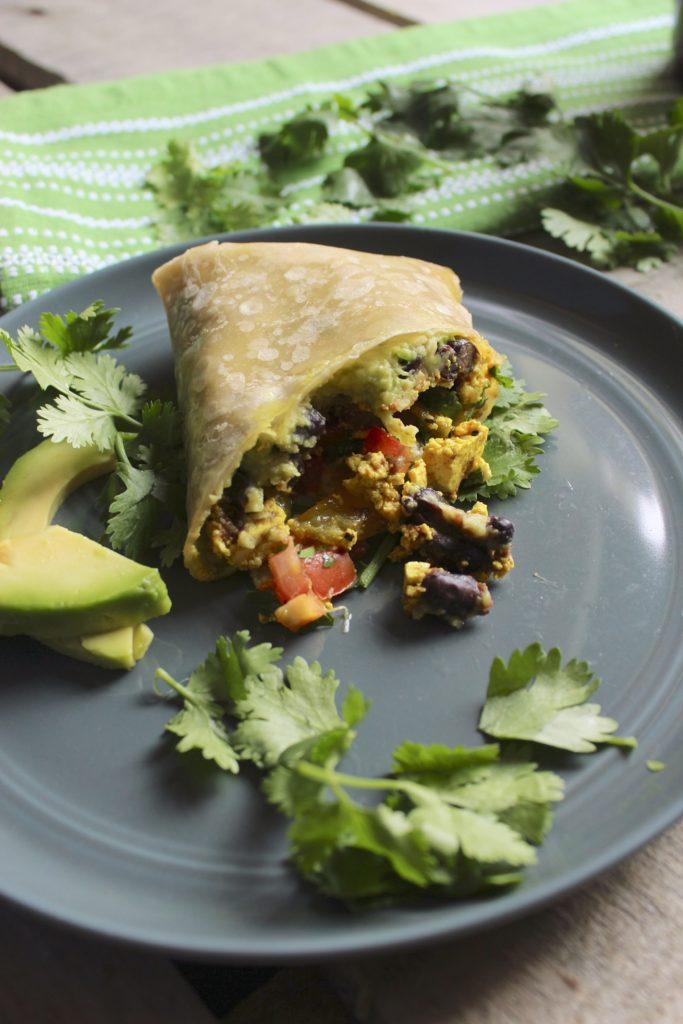 Healthy Tofu Breakfast Burritos on Plate
