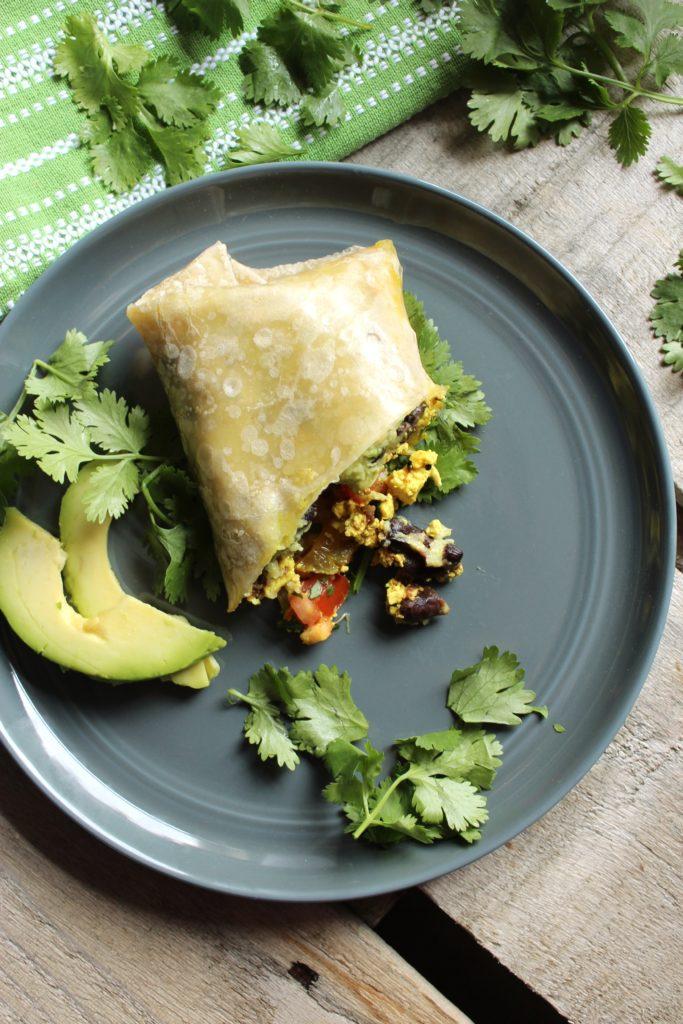 Healthy Tofu Breakfast Burrito on Plate