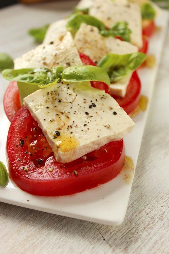 Vegan Caprese Salad on Plate
