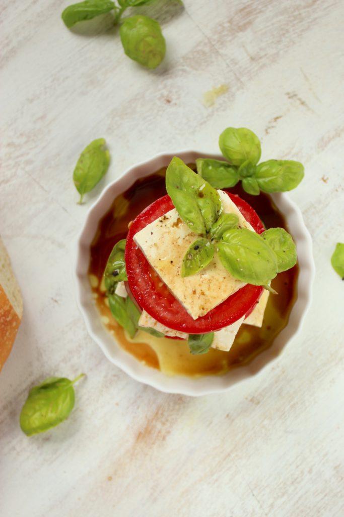 Vegan Caprese Salad in Bowl