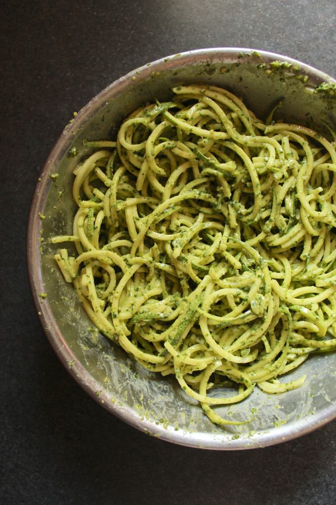 10-Minute Zucchini Pasta with Vegan Cashew Basil Pesto
