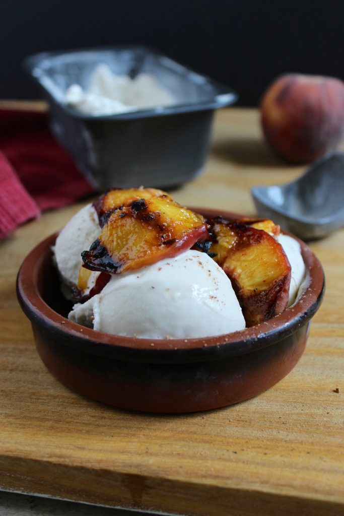 3-Ingredient Coconut Ice Cream with Spicy Grilled Peaches in Bowl