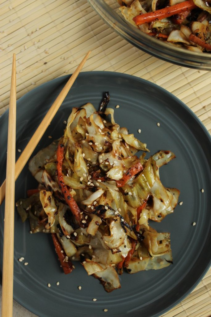 Grilled Sesame Ginger Cabbage on Plate with Chopsticks