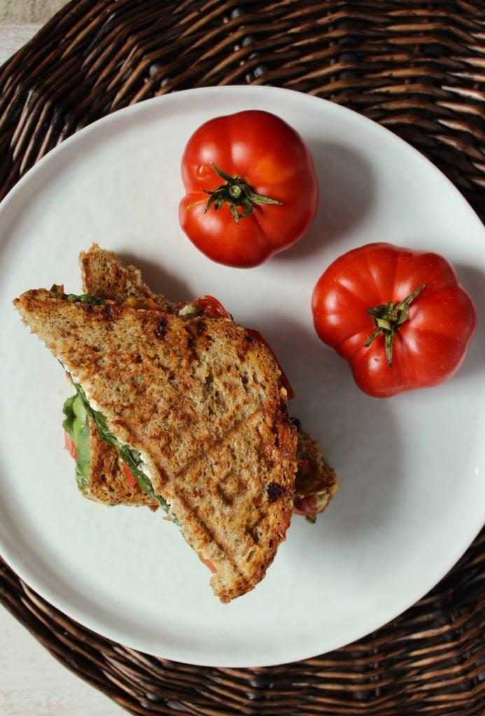 Heirloom Tomato Pesto Panini 2 Tomatoes on Plate