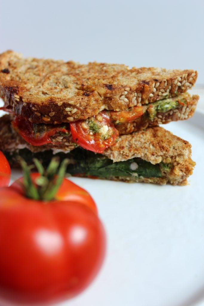 Heirloom Tomato Pesto Panini Close up