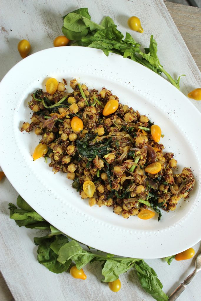 Curried Quinoa Chickpea Salad on Plate