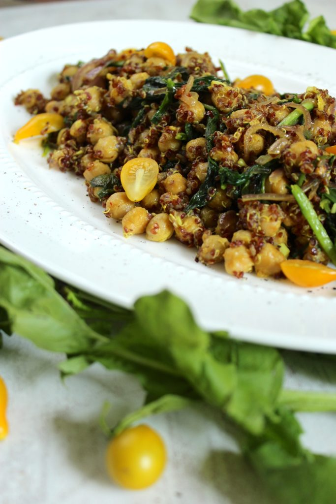Curried Quinoa Chickpea Salad Plate Tomatoes