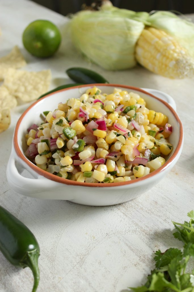 Chipotle's Corn Salsa in bowl Sweetcorn Chilis