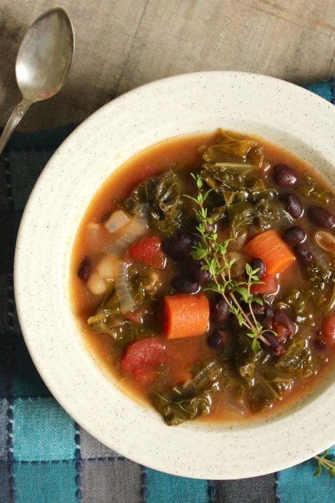 Crockpot Kale Vegetable Soup in Bowl