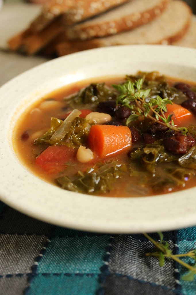 ... this bone-warming, savory kale soup with hearty chunks of vegetables