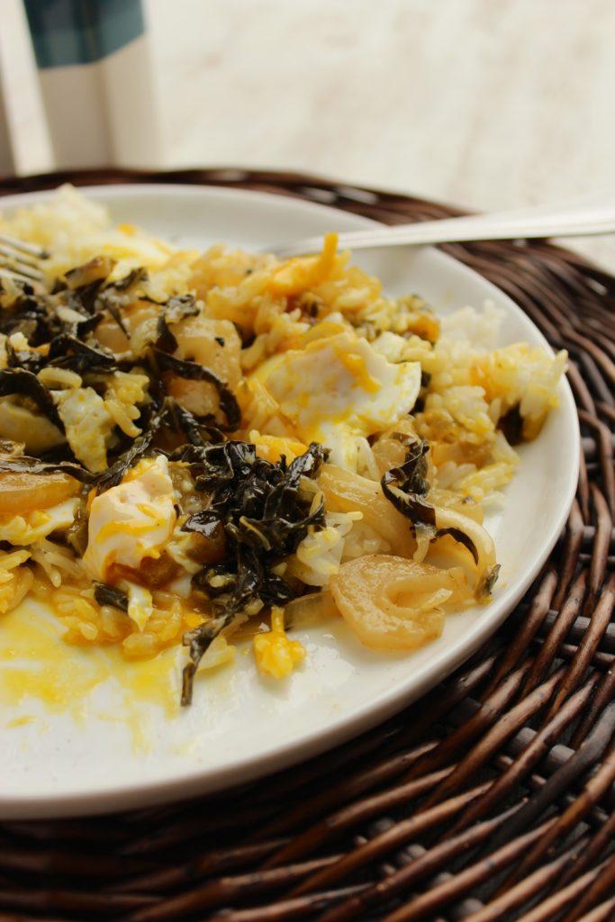 Honey-Lemon Bok Choy with Basmati Rice and Eggs on Plate