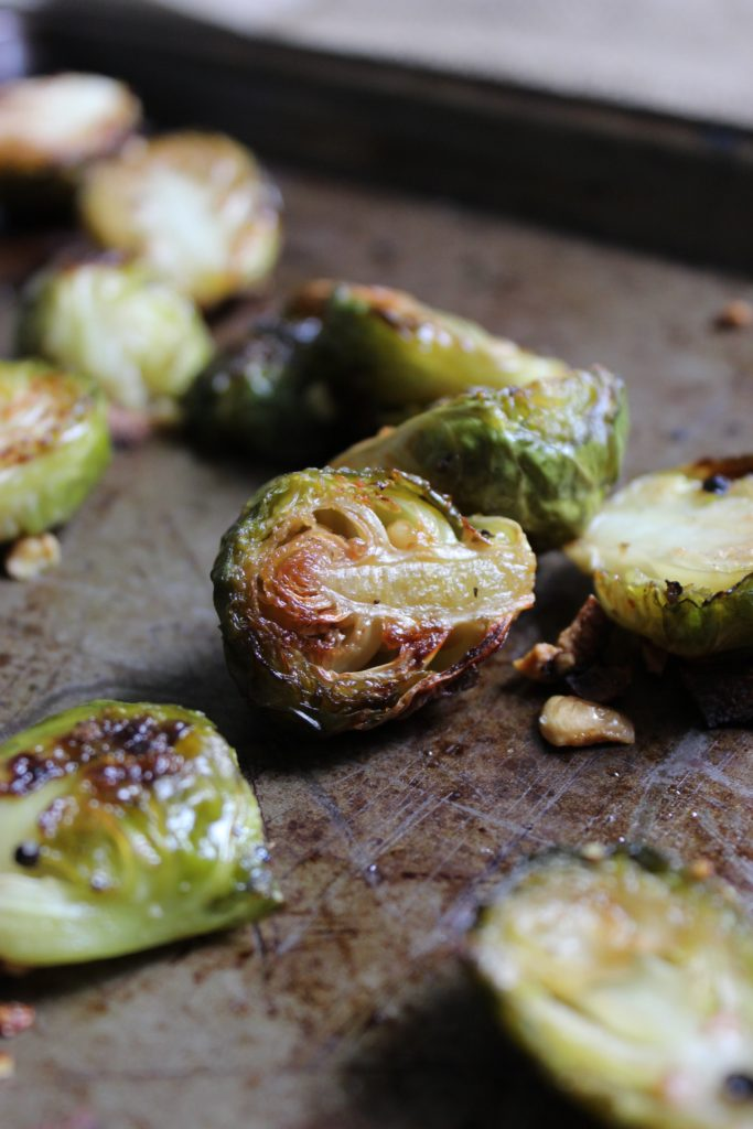 Oven Roasted Brussels Sprouts Close up on Tray