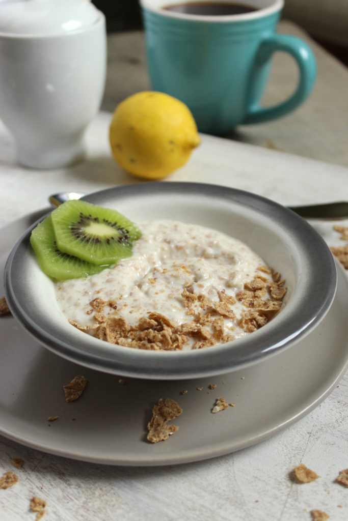 Magical Breakfast Cream in Bowl Coffee Cup Lemon Kiwi
