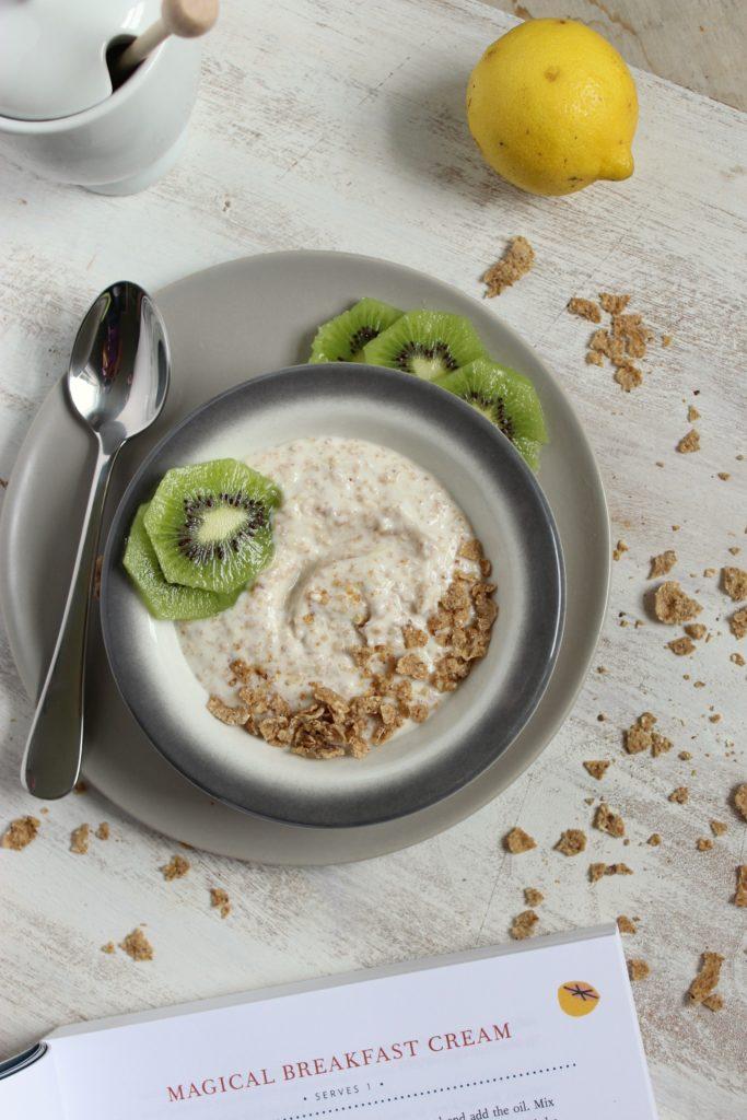 Magical Breakfast Cream in Bowl Spoon Kiwi Lemon