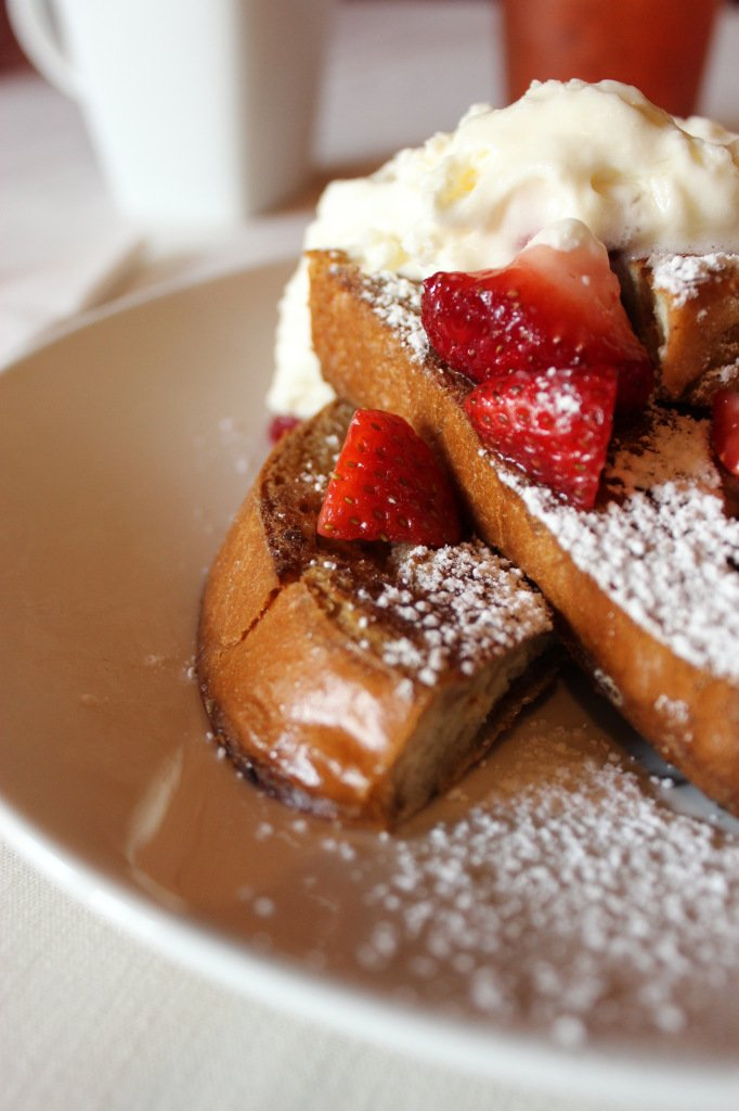 French Toast with Fresh Whipped Cream at 18 on the Square in Shelbyville, IN