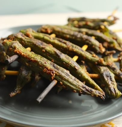 Grilled Curry Okra