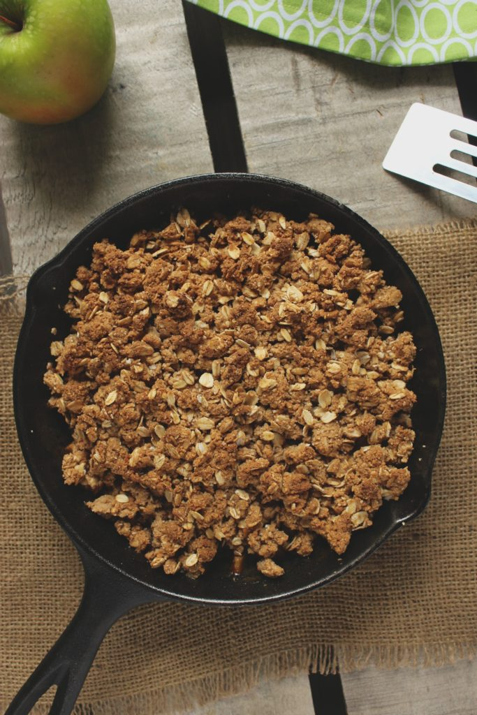 Vegan Cast Iron Skillet Apple Crisp in Pan Apple
