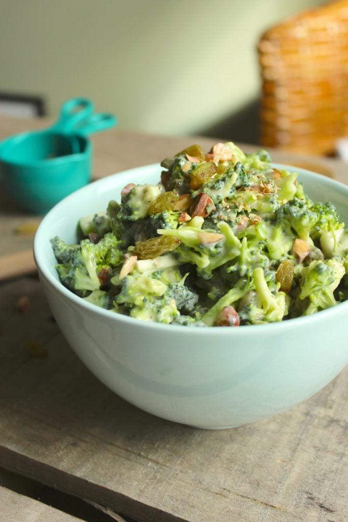 Easy Vegan Broccoli Salad Bowl on Table