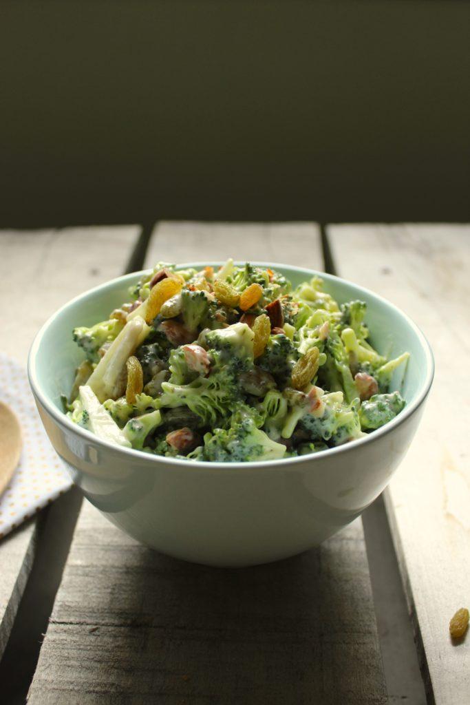 Easy Vegan Broccoli Salad in Bowl