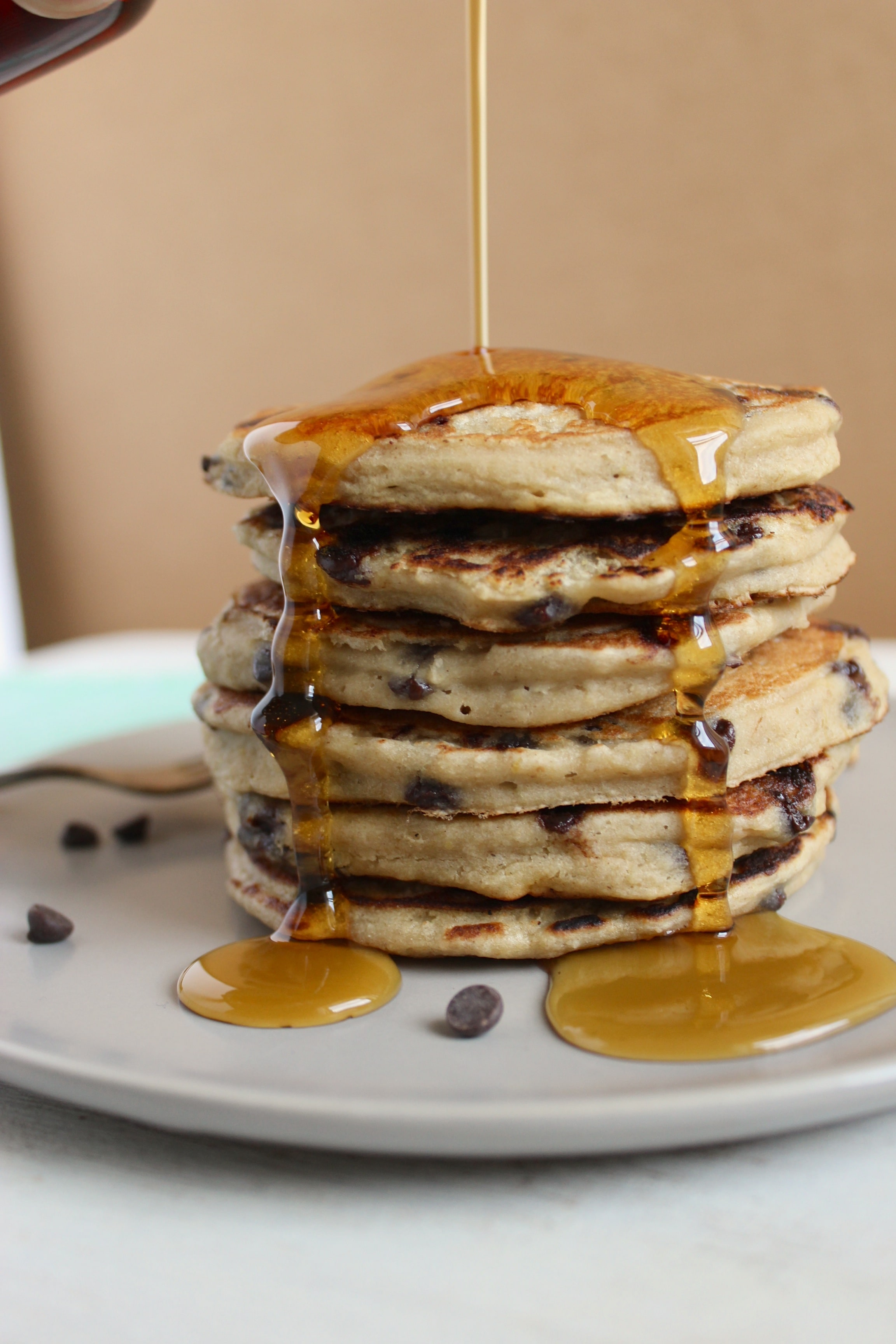 Vegan Gluten Free Chocolate Chip Banana Pancakes – The Fitchen