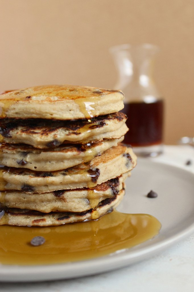 Vegan Gluten Free Chocolate Chip Banana Pancakes – The Fitchen