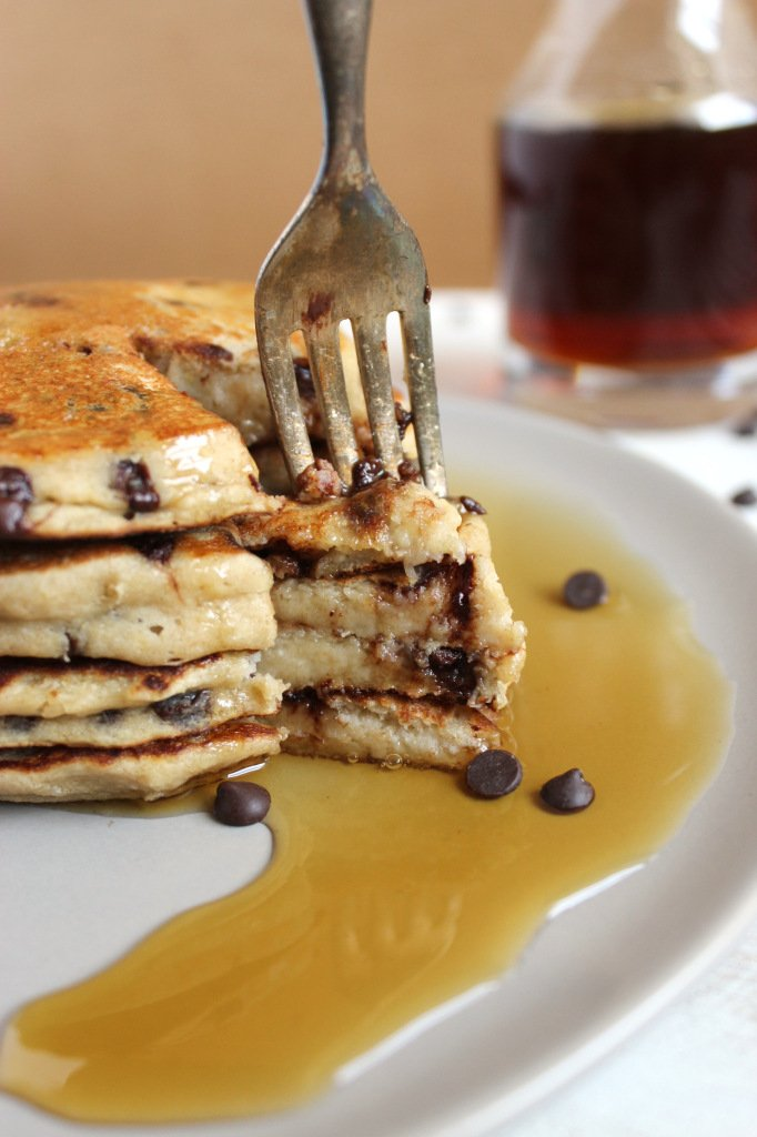 Vegan Gluten Free Chocolate Chip Banana Pancakes