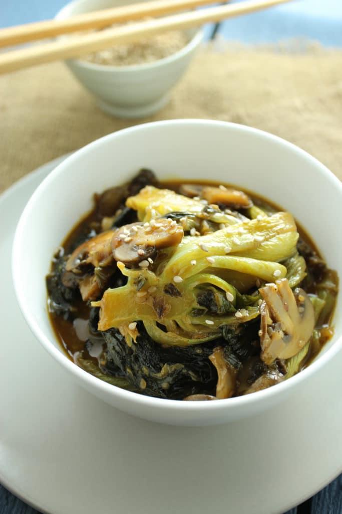 Easy Bok Choy and Mushroom Stir Fry in Bowl