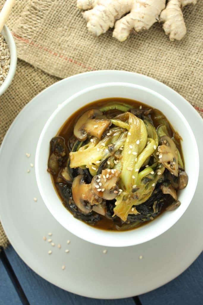 Bok Choy and Mushroom Stir Fry in Bowl