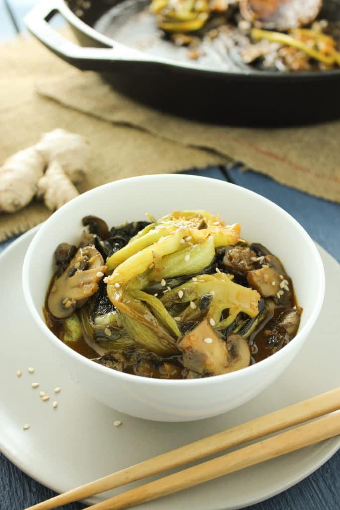 Easy Bok Choy and Mushroom Stir Fry in Bowl with Chop Sticks