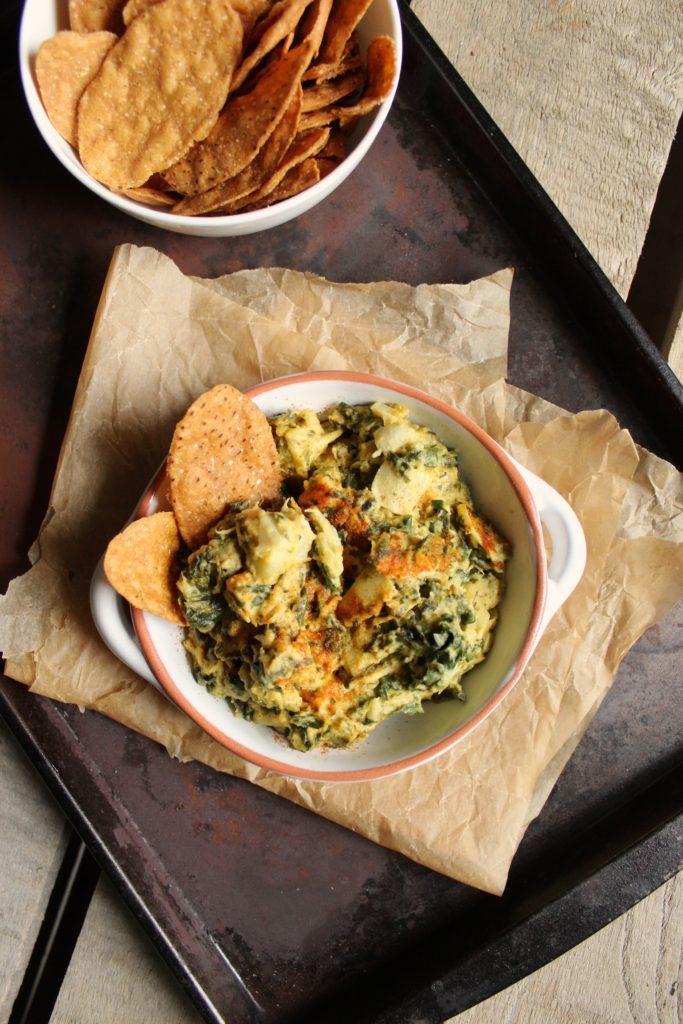 Spinach Artichoke Hummus in Dish