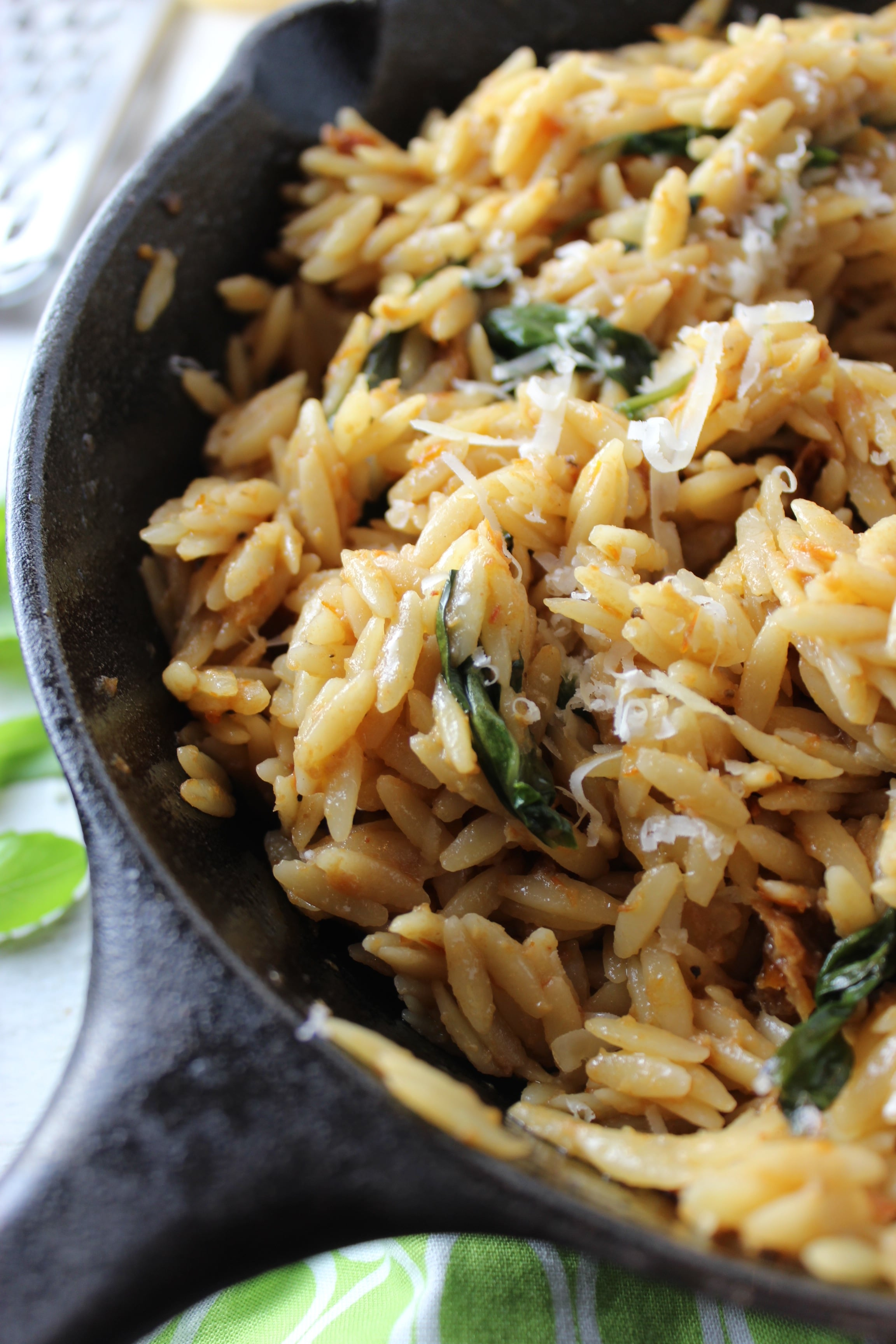 20 Minute Orzo with Creamy Sun-Dried Tomato Basil Sauce