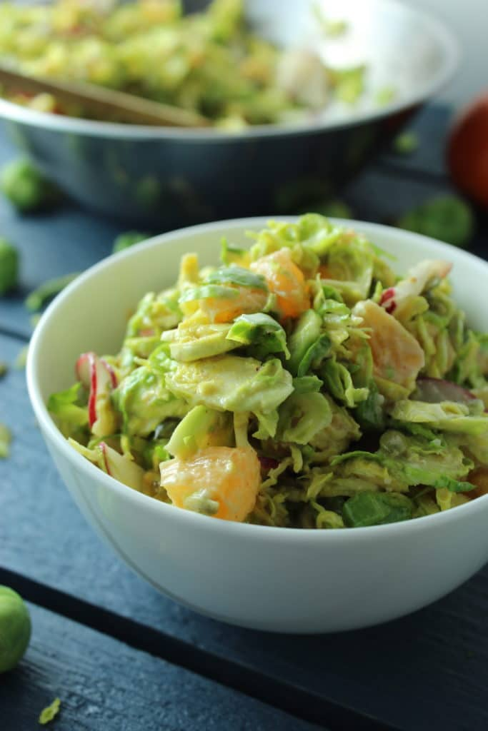 Winter Brussels Sprouts Salad with Ginger Miso Dressing