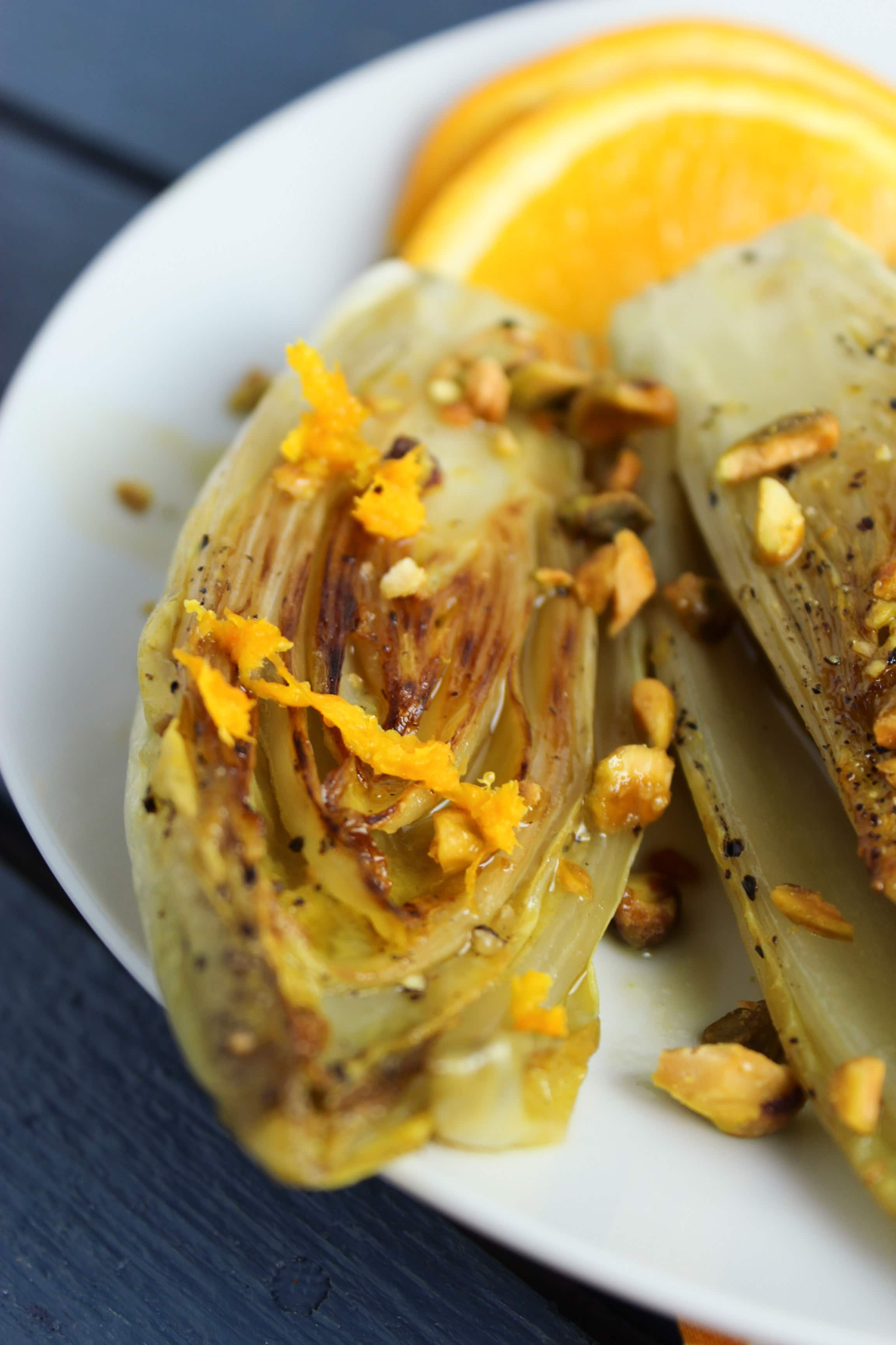 Pan-Seared Belgian Endives with White Wine Orange Reduction
